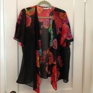 EUC Susan Graver Black Floral Cardigan Topper Larg